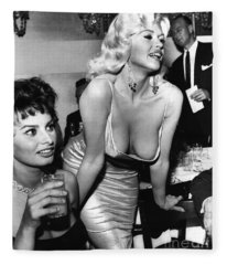 Jayne Mansfield Hollywood Actress And, Italian Actress Sophia Loren 1957 Fleece Blanket