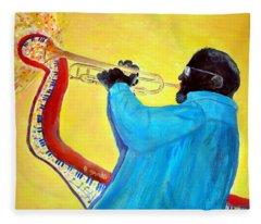 Jazzy Trumpet Player Fleece Blanket