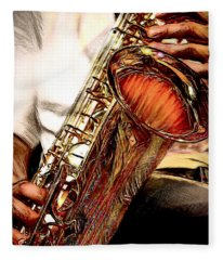 Jazzy Sax Fleece Blanket