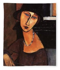 Jeanne Hebuterne With Hat And Necklace Fleece Blanket