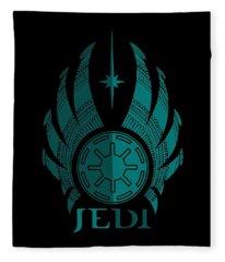 Jedi Symbol - Star Wars Art, Blue Fleece Blanket