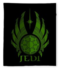 Jedi Symbol - Star Wars Art, Green Fleece Blanket