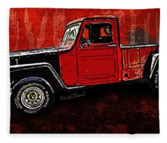 Jeep Pickup Adventure Comic Book Scene Fleece Blanket