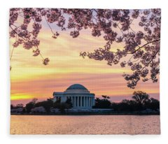 Jefferson Memorial At Sunrise With Blossoms Fleece Blanket