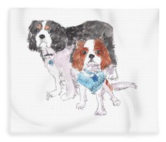 Jeffs Dogs Watercolor Kmcelwaine  Fleece Blanket