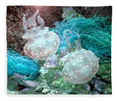 Jellyfish In Aquarium Fleece Blanket