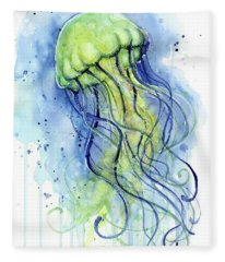 Jellyfish Watercolor Fleece Blanket