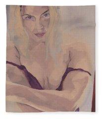 Jenny In Purple Fleece Blanket