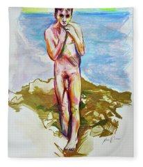 Jeremy At The Beach Fleece Blanket