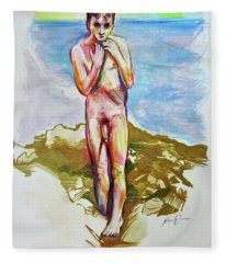 Jeremy At The Beach Fleece Blanket