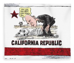 Jerry Brown - California Drought And High Speed Rail Fleece Blanket