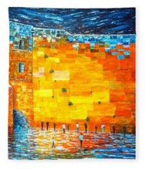 Jerusalem Wailing Wall Original Acrylic Palette Knife Painting Fleece Blanket