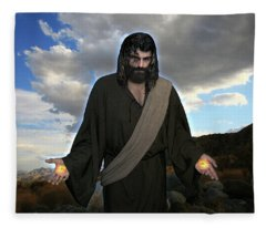 Jesus Christ- And He Withdrew Himself Into The Wilderness And Prayed Fleece Blanket