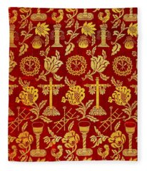 Jesus Crucifixion Iconography Tapestry  From Spain 1600s Fleece Blanket