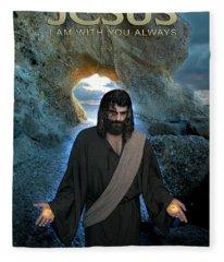 Jesus- I Am With You Always Fleece Blanket