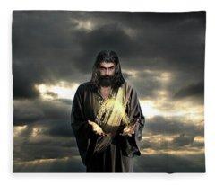 Jesus In The Clouds Fleece Blanket