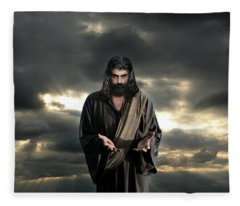 Jesus In The Clouds With Glory Fleece Blanket