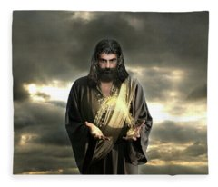 Jesus In The Clouds With Radiant Power Fleece Blanket