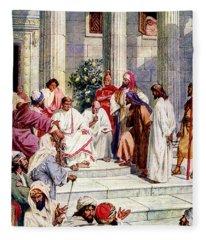 Jesus Is Taken To Pontius Pilate Fleece Blanket