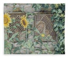 Jesus Looking Through A Lattice With Sunflowers Fleece Blanket