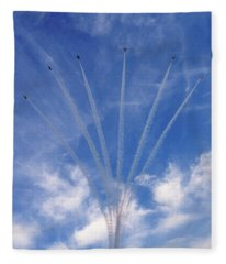 Jet Planes Formation In Sky Fleece Blanket