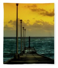 Jetty At Sunrise Fleece Blanket