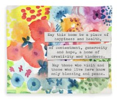 Jewish Home Blessing- Floral Watercolor Fleece Blanket