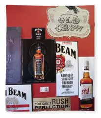 Jim Beam Black Double Aged - Red Stag  - Old Crow Signs Fleece Blanket