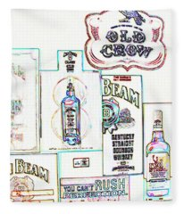 Jim Beam Old Crow Sign In Abstract Fleece Blanket