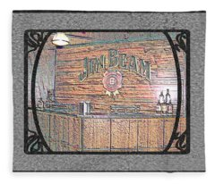 Jim Beam Tasting Area In Colored Chalk With Border And Framing Fleece Blanket