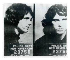 Jim Morrison Mug Shot Horizontal Fleece Blanket