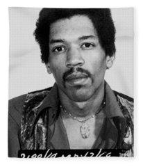 Jimi Hendrix Mug Shot Vertical Fleece Blanket