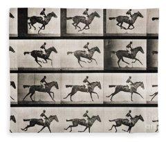 Jockey On A Galloping Horse Fleece Blanket