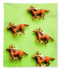 Jockeys And Horses Fleece Blanket
