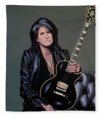 Joe Perry Of Aerosmith Painting Fleece Blanket