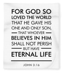 John 3-16 - Spiritual Wall Art - Bible Verses Art Fleece Blanket