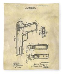 John Browning Automatic Pistol Patent Fleece Blanket