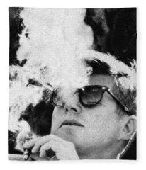 John F Kennedy Cigar And Sunglasses Black And White Fleece Blanket