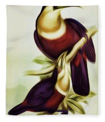 John Gould And Edward Lear Family Of Toucans Interpreted Fleece Blanket
