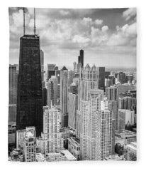 John Hancock Building In The Gold Coast Black And White Fleece Blanket