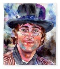 John Lennon Portrait Fleece Blanket