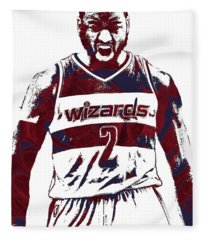 John Wall Washington Wizards Pixel Art 5 Fleece Blanket