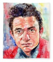 Johnny Cash Portrait Fleece Blanket
