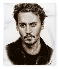 Johnny Depp Sepia Fleece Blanket