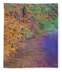 John's Pond In The Fall Fleece Blanket