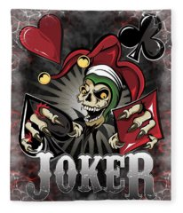 Joker Poker Skull Fleece Blanket
