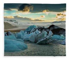 Jokulsarlon Ice Lagoon Landscape Of Ice  Fleece Blanket