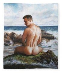 Jon At The Beach  Fleece Blanket