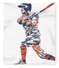Jose Altuve Houston Astros Pixel Art 14 Fleece Blanket