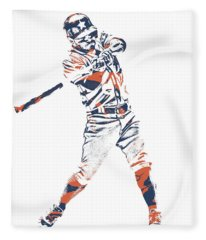 Jose Altuve Houston Astros Pixel Art 21 Fleece Blanket